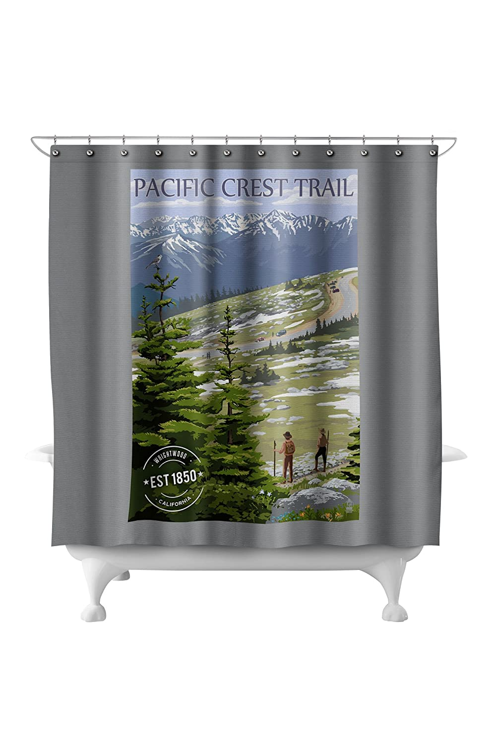 Wrightwood, California - Pacific Crest Trail and Hikers - Rubber Stamp (71x74 Polyester Shower Curtain)