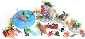 Sunny Days Entertainment Sea Creature Bucket – 56 Piece Toy Play Set for Kids   Aquatic Animals Plastic Figures Playset with Storage Bucket, Multi, (Model: 320077)