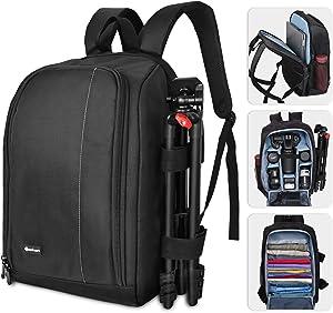 "Yesker Large Camera Backpack Bag 17.8x11.8 Camera Case with Laptop 15.6"" Pocket 8 Flexible Padded Shockproof Insert Protection for SLR DSLR Mirrorless Cameras and Lenses, Flash Light, Radio Triggers"