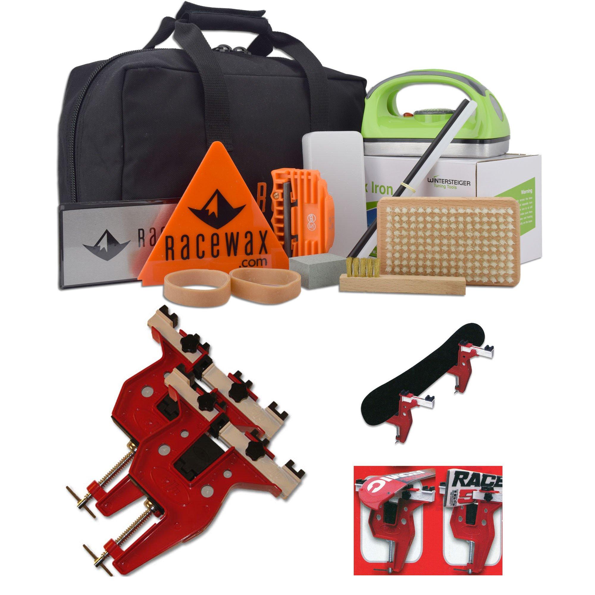 RaceWax Carver Ski Snowboard Wax Tuning Kit Plus Snowboard/Ski Combo Vise by RaceWax