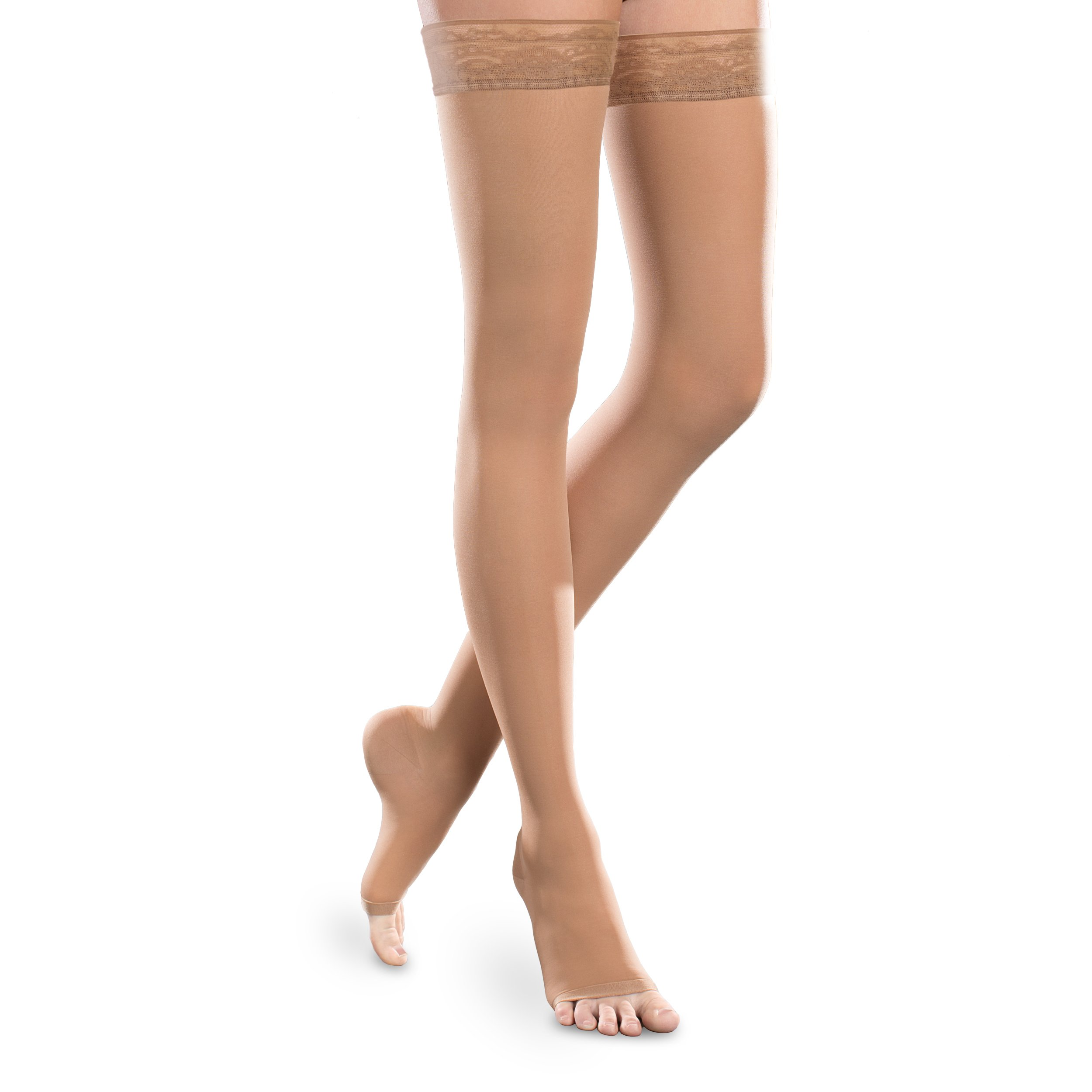 Sheer Ease Women's Open-Toe Thigh High Stockings - 20-30mmHg Moderate Compression Nylons (Sand, Small Long)
