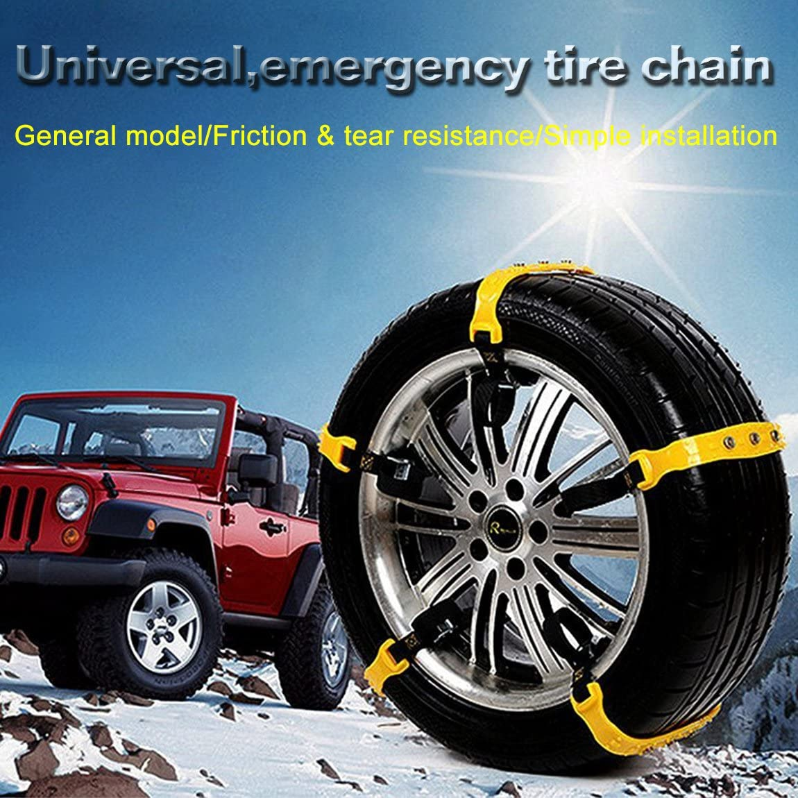 Besteamer Snow Chains Car Anti Slip Tire Chains Adjustable Anti-Skid Chains Car Tire Snow Chains Fits for Most Car//SUV//Truck-Set of 10 Width 185-295mm//7.2-11.6 Yellow