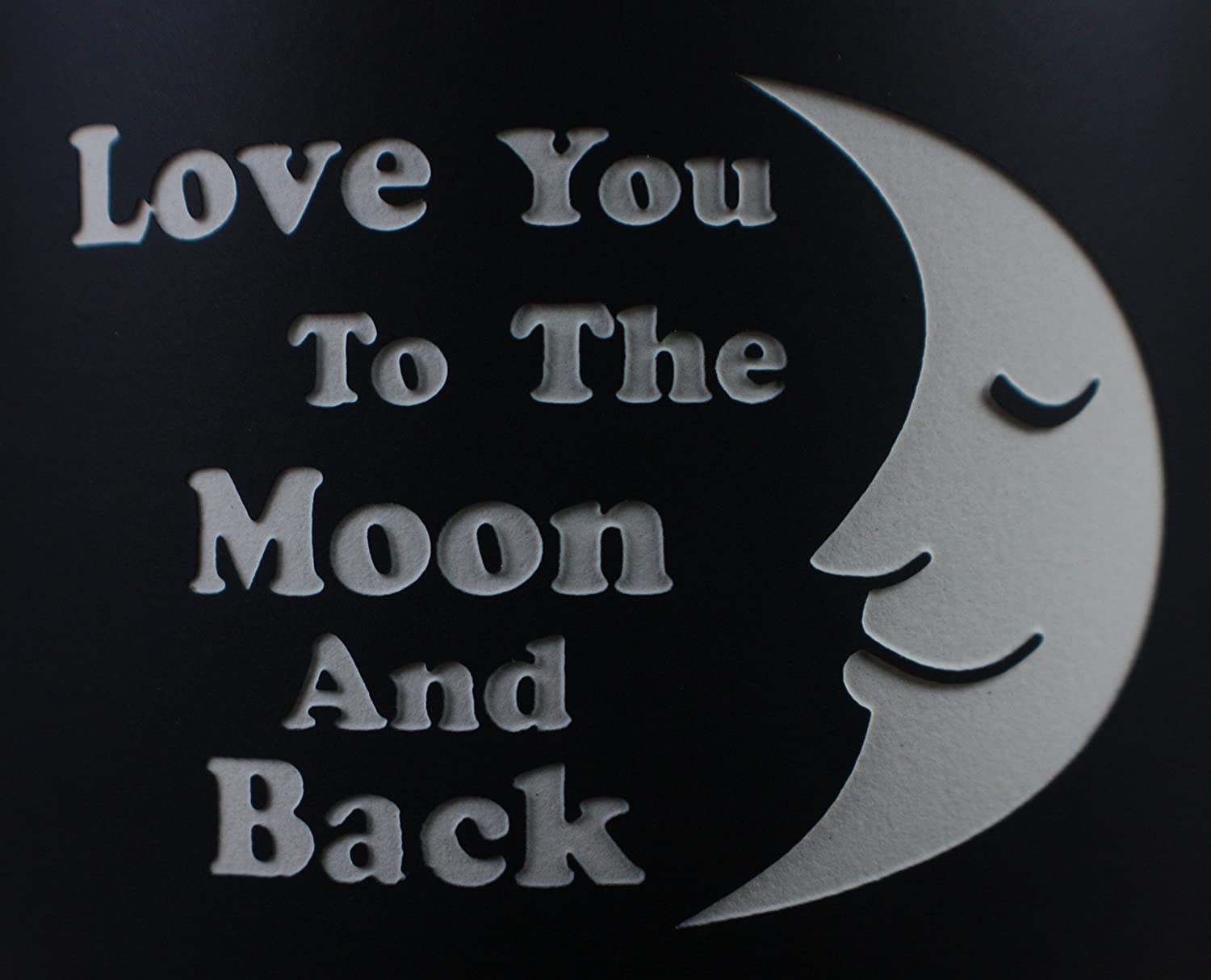 Love You to the Moon and Back 14oz Engraved Graphic Coffee Mug//Tea Cup By Celery Street for Birthdays and Anniversaries Bistro Black