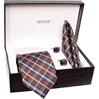 MENSOME Men's Microfibre Brown Check Tie Set With Cufflink