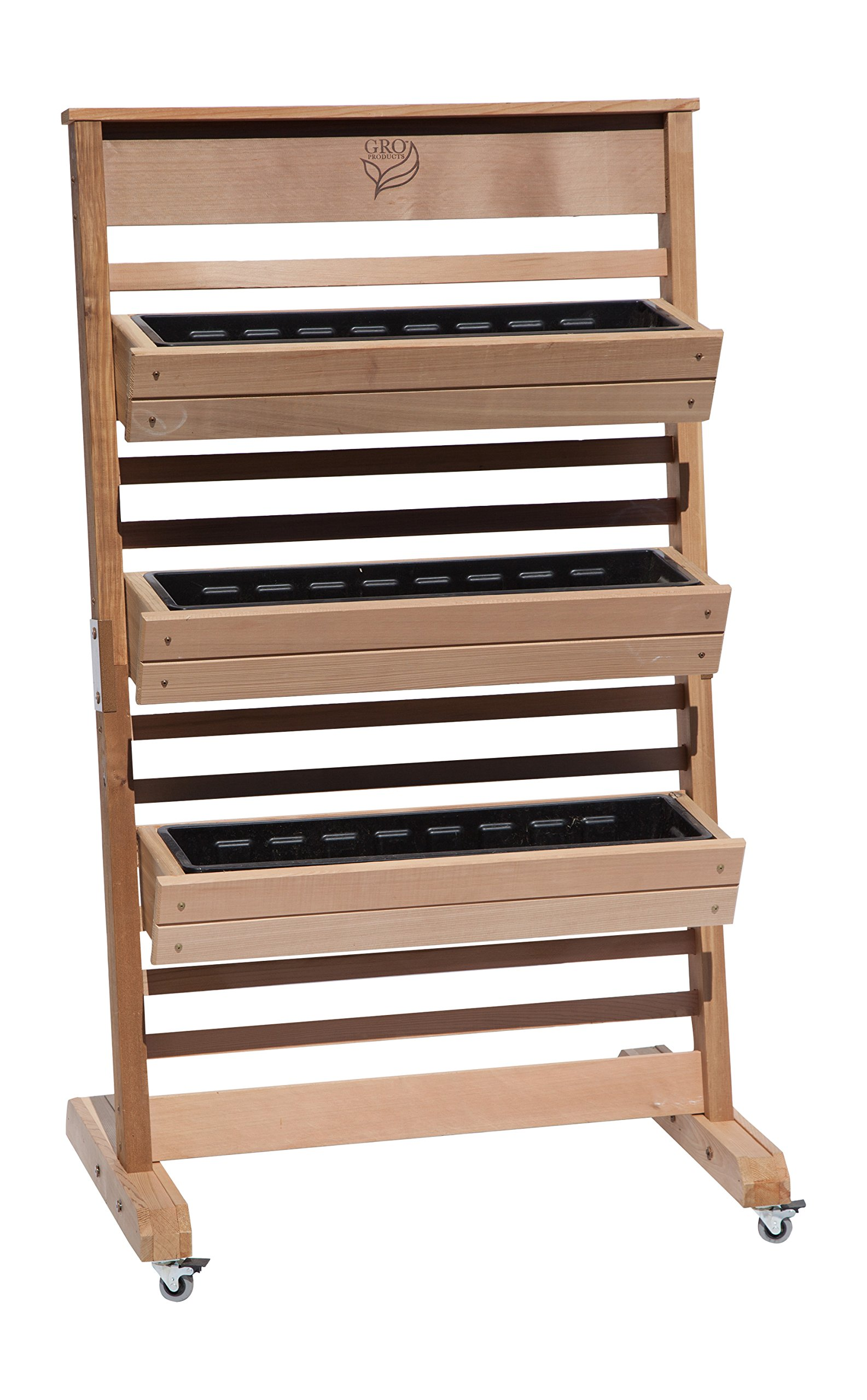 GRO Products Vertical GRO System with 3-Planter Boxes and Casters, 30-Inch by 58-Inch