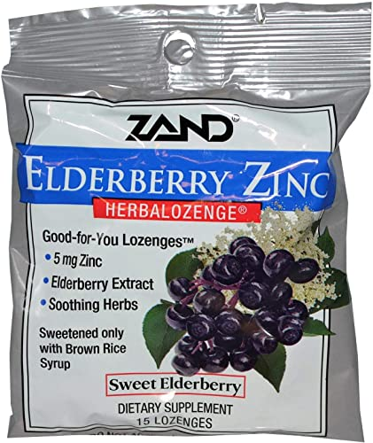 Zand, 6 Pack Elderberry Zinc, Herbalozenge, Sweet Elderberry, 15 Lozenges
