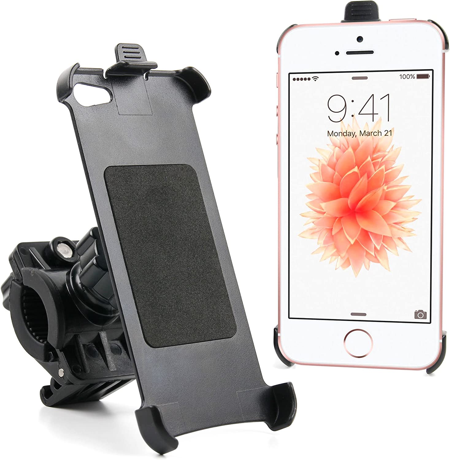 DURAGADGET Mountain Bike Handlebar Clamp Mount With Rotating Ball Joint Cradle - Custom Designed For The NEW Apple iPhone SE (2016) and Apple iPhone 5 (16GB, 32GB, 64GB)