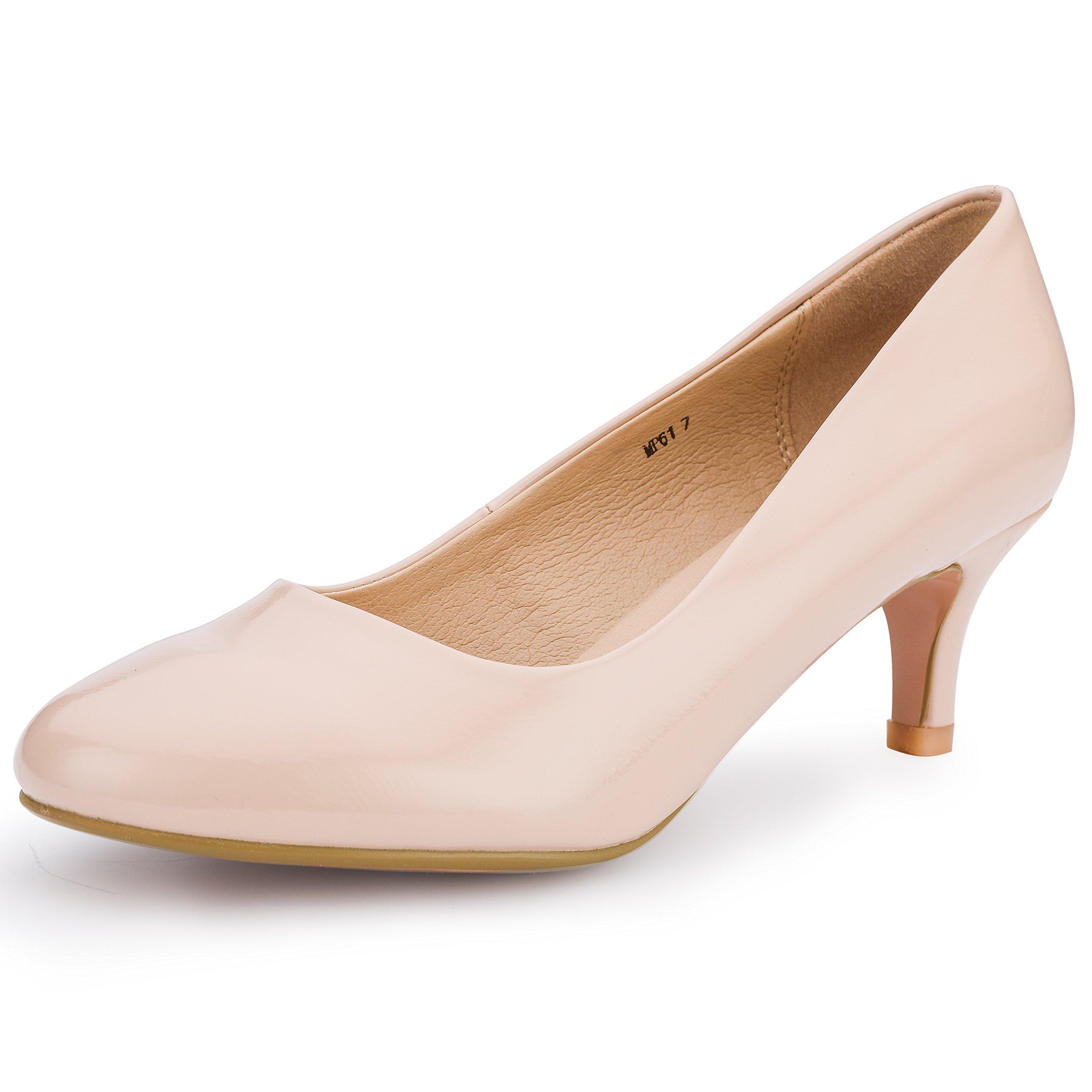 IDIFU Women's RO2 Basic Round Toe Mid Heel Pump Shoes (Nude Patent, 7.5 B(M) US)