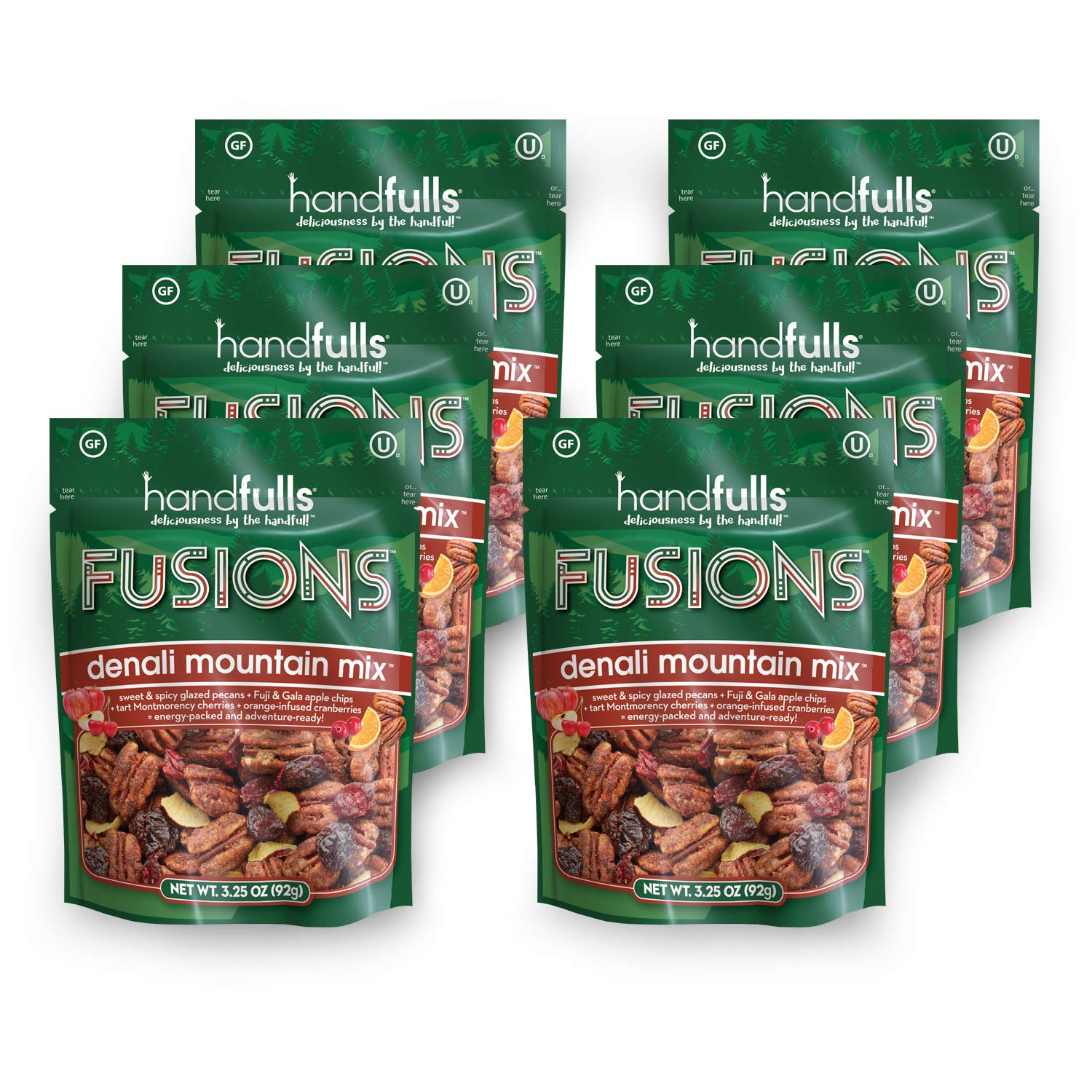 Fusions Denali Mountain Mix (6-Pack) Salty & Sweet Trail Mix by Handfulls. Glazed pecans, apple chips, cherries & cranberries. Gluten-free, Non-GMO, OU Kosher, Vegetarian (3.25 oz bags) by Handfulls