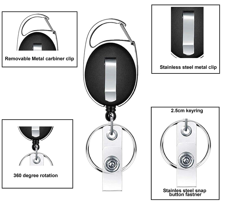 Kurtzy Portachiavi retrattile per identificazione badge 10 pezzi di Distintivo moschettone per Etichette per valigie leggero Portachiavi estendibile porta badge retrattile