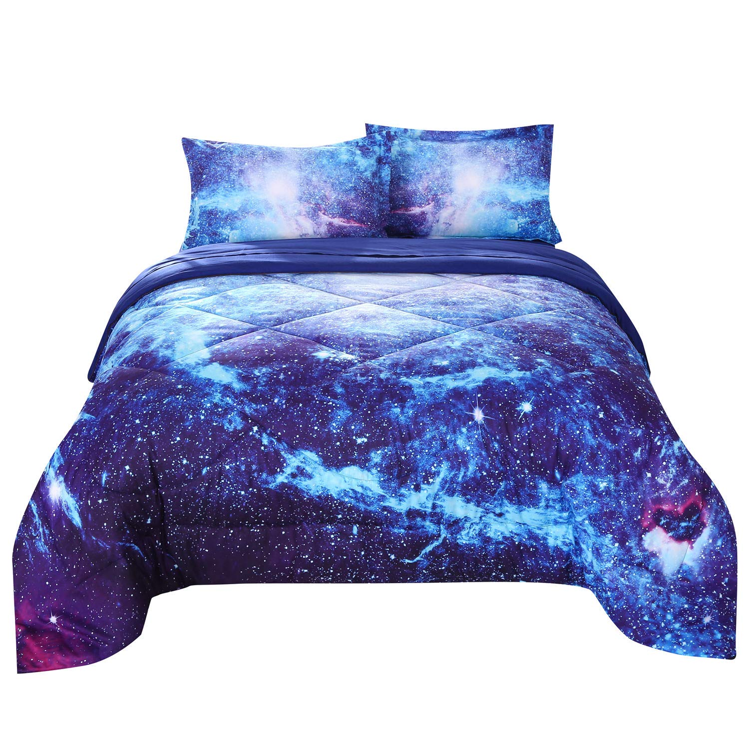 Wowelife Galaxy Comforter Sets Twin 3D Outer Space Blue Bedding Sets Mysterious Sky Cosmos Night 5 Piece with Print Comforter for Kids(Twin-5 Piece, Blue Galaxy)