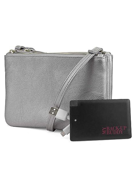 8f5e7f9572f0 Mundi Protect   Connect RFID Blocking Womens Crossbody Bag Wallet With  Bonus Portable Charger ((