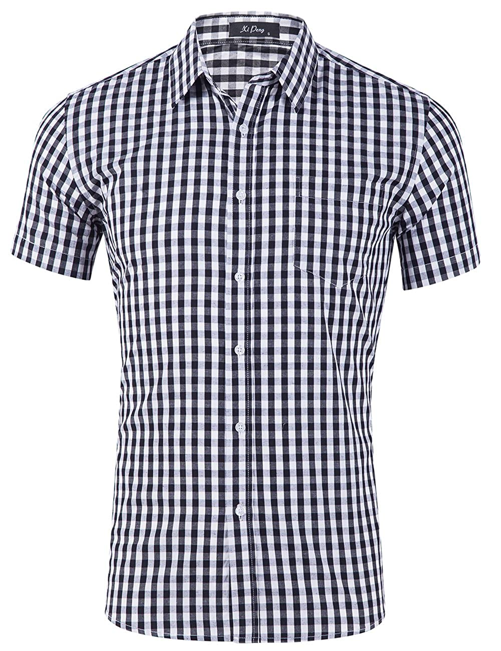 Xi Peng Mens Casual Cotton Plaid Checkered Gingham Short Sleeve