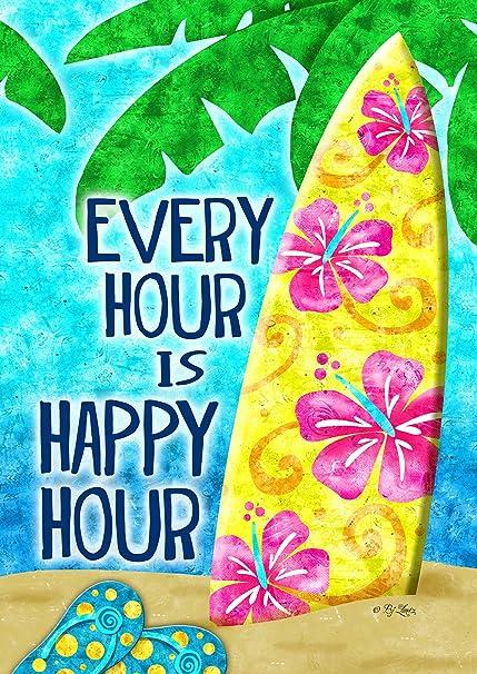 Toland Home Garden 1010939 Happy Hour Surf Summer Beach Vacation Decorative House Flag 28 X 40 Inch Garden Outdoor