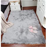 Super Soft Faux Fur Sheepskin Fluffy Area Rug Shaggy Thick Chair Cover Seat Pad Fur Floor Mat Carpet for Bedrooms Living Room