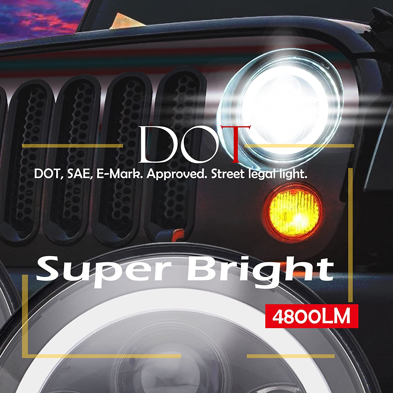 DRL TURBO SII DOT Approved Pair 7 Inch 75W Round LED Headlights For Jeep Wrangler JK TJ LJ 1997-2017 Turn Lights With Hi//Lo Beam Daytime Running Light 2 Pack)