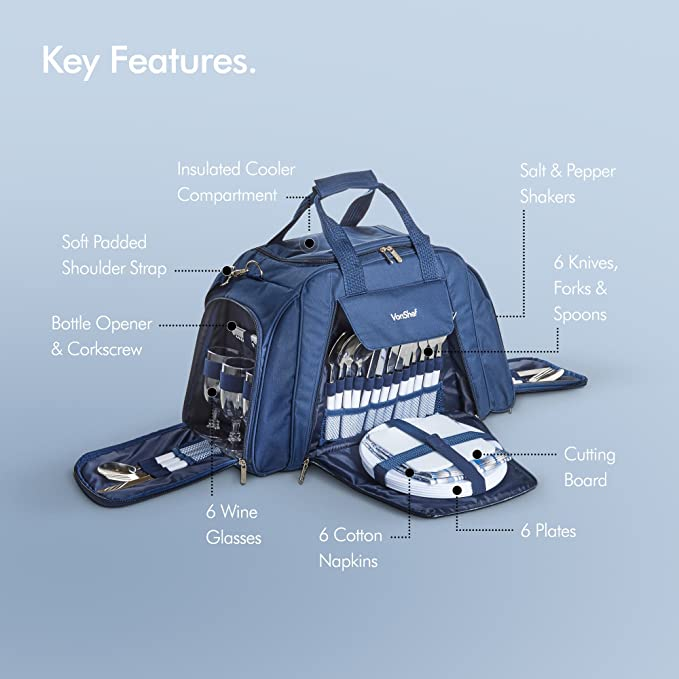 VonShef Bolsa de Picnic Deluxe para 6 Personas – Incluye Vajilla de 41 Piezas y Compartimiento Refrigerante – Azul Tartán