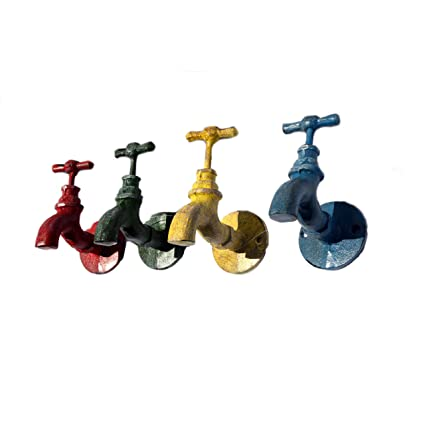 Amazon.com: Vintage Garden Art Color Faucet Iron Wall Hooks - Set of ...