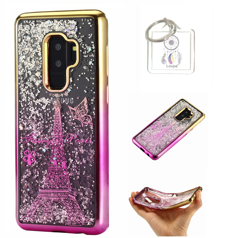 Coque Galaxy S9 Plus (6, 2 Pouces) Coque Gel Transparent Étui de Protection en TPU Souple Silicone Liquide Bling Pétillant Gratuit Paillettes Sables Mouvants + Porte-clés (R) Lohpe