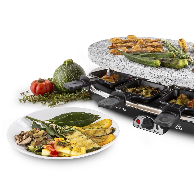 Klarstein Steaklette Raclette-Grill • Parrilla de mesa • Barbacoa-Party • 1500W • regulador de temperatura • Plancha de granito natural • 8 mini- sartenes ...