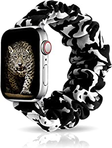 Scrunchie Elastic Watch Band Compatible with Apple Watch 38mm40mm, Women Girls Cloth Hair Rubber Band Strap Bracelet Compatible with iWatch Series 6/SE/5/4/3/2/1 (Cow, 38mm/40mm S/M)