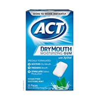 ACT Dry Mouth Moisturizing Gum with Xylitol, Sugar-Free Soothing Mint, 20 Pieces...