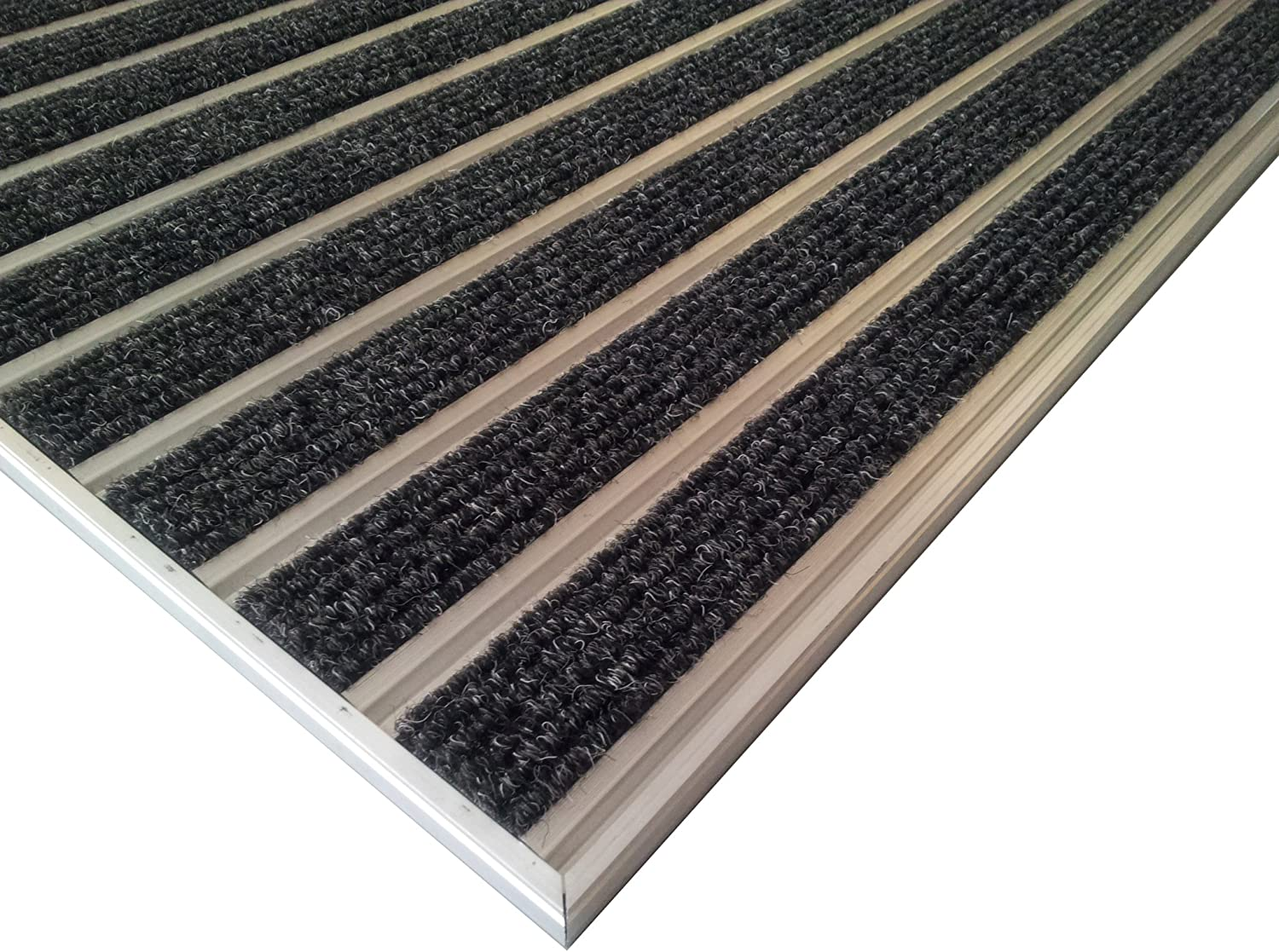 for recessed installation in mat well,including matwell frame Professional aluminium entrance matting system HD60 Carpet size 110 x 68 cm Anthracite color.