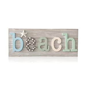 Tumbler Home Wood Beach Word Sign with Sea Life | White Washed Finish | Hangs or Stands (Pastel)