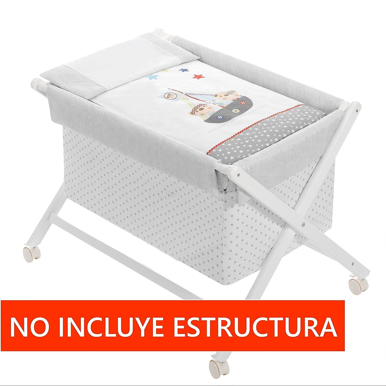Colch/ón Vestidura Minicuna mibebestore Plegable Gris//Blanco Pirata: Estructura Almohada Colcha Desenfuntable
