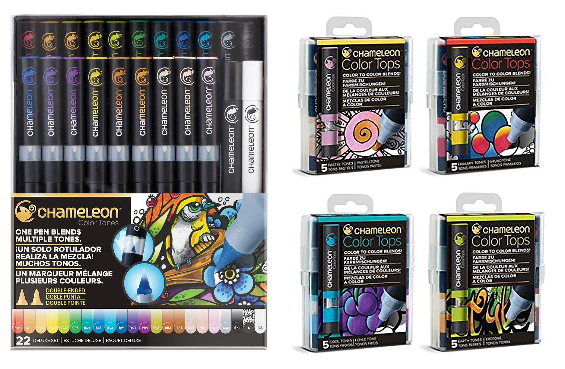 Chameleon 22 Piece Marker Set and 4 Packs of 5 Color Tops (1 Each Pastel, Primary, Cool and Earth Tones) (Bundle 5 Items)
