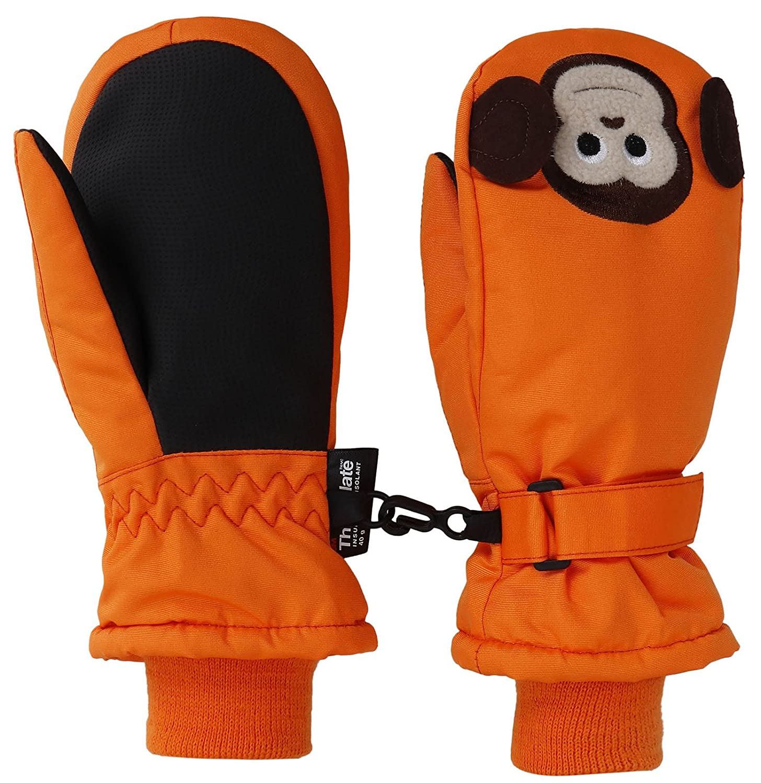 Livingston 子供用ミトン シンサレート素材の裏打ち 防水スキー手袋 動物デザイン B0776P5XYM X-Small|猿 猿 X-Small