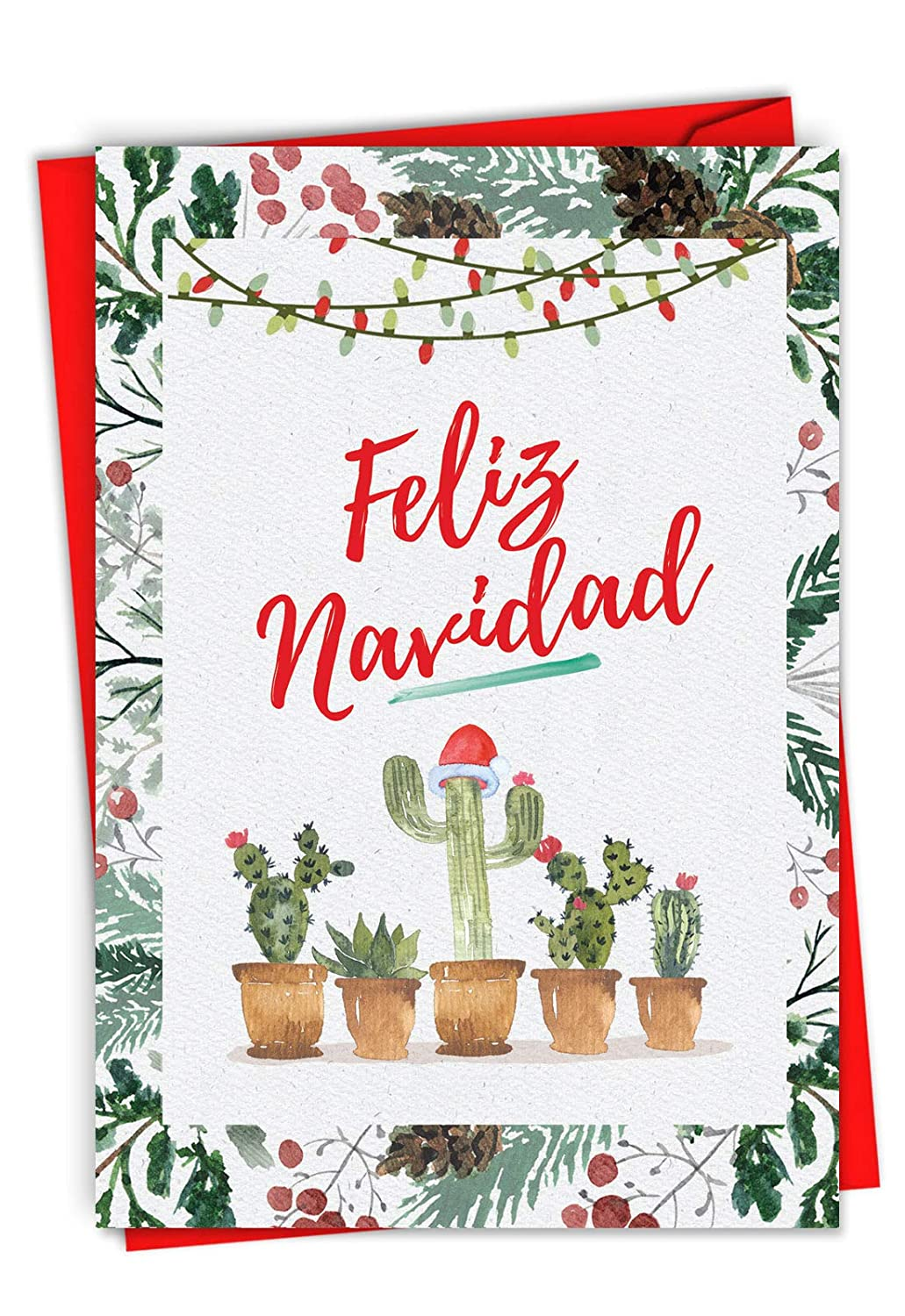Funny Cactus Feliz Navidad Merry Christmas Card 4.63 x 6.75 inch - Spanish Holiday, Happy New Year, Xmas Note - Feliz Año Nuevo y Felices Fiestas - ...