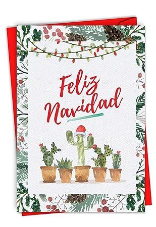 Feliz Navidad Cristmas.Funny Cactus Feliz Navidad Merry Christmas Card 4 63 X 6 75 Inch Spanish Holiday Happy New Year Xmas Note Feliz Ano Nuevo Y Felices Fiestas