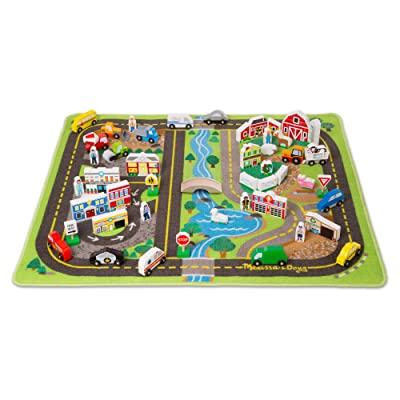 Melissa & Doug Deluxe Activity Road Rug Play Set (49 Wooden Vehicles and Play Pieces, Great Gift for Girls and Boys - Best for 3, 4, 5 Year Olds and Up): Toys & Games [5Bkhe0501383]