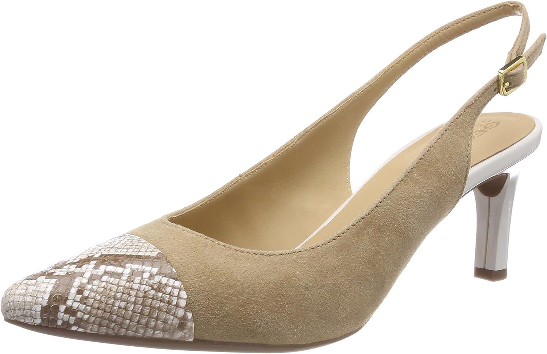 TALLA 37 EU. Geox D Bibbiana E, Zapatos de tacón con Punta Abierta para Mujer