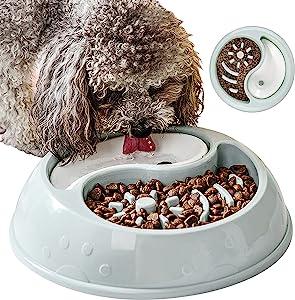 VPOER Slow Feeder Dog Bowls Small Size Dog Anti Gulping Dog Water Bowl Non Slip Non-Toxic Healthy Puppy Food Bowls (Blue)