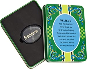 Decorative Metal Gift Box with Inspirational Stone of Sentiment and Unique Poem to Match Theme (Believe)