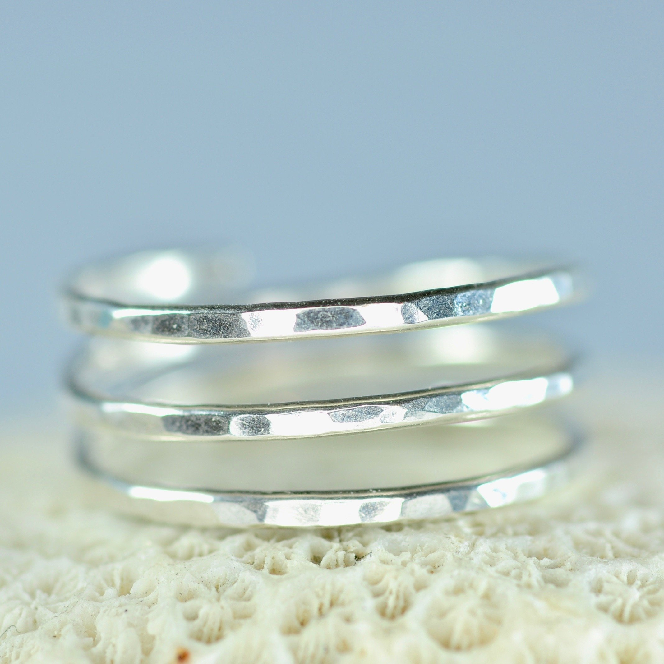 Sterling Silver Adjustable textured wire wrap coil ring, thumb ring, pregnancy ring