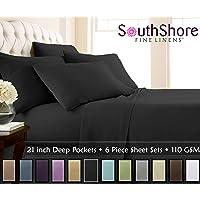 (Queen, Black) - Southshore Fine Linens - 6 Piece - 50cm - Extra Deep Pocket Sheet Set (Queen, Black)