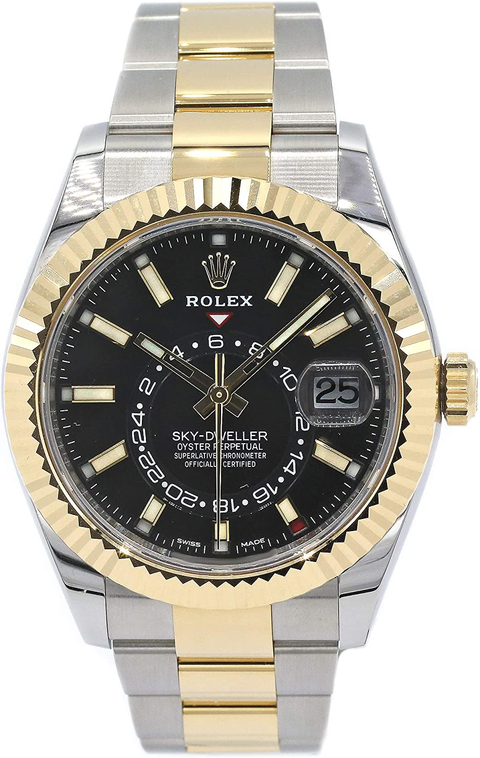 Image of Certified Pre-Owned Rolex Sky-Dweller 326933 Stainless Steel and 18k Yellow Gold Fluted Bezel/Oyster Bracelet/Black Dial
