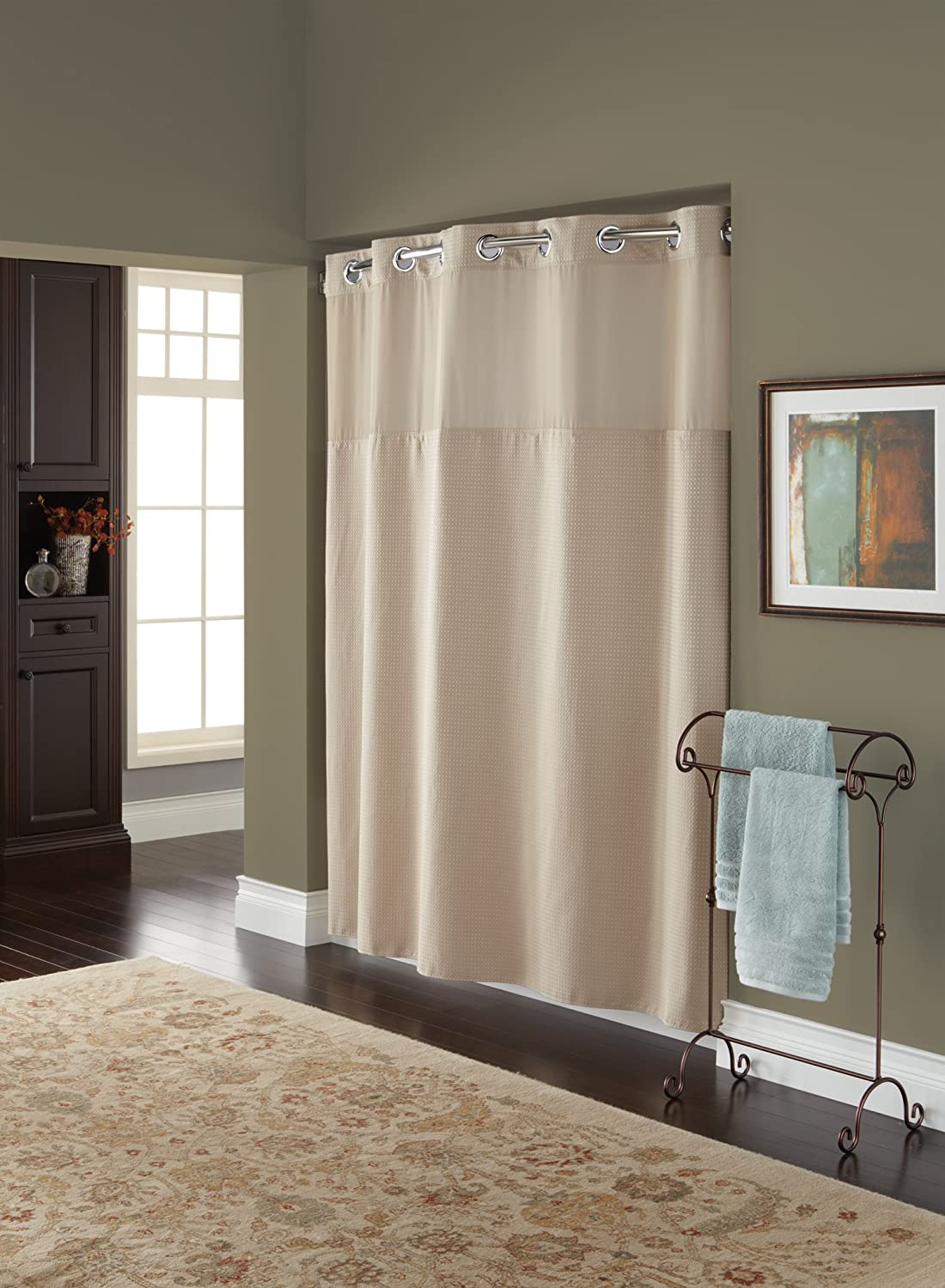 Hookless fabric shower curtain with built in liner taupe diamond pique - Amazon Com Hookless Rbh82my418 Fabric Shower Curtain With Built In Liner Taupe Diamond Pique Home Kitchen