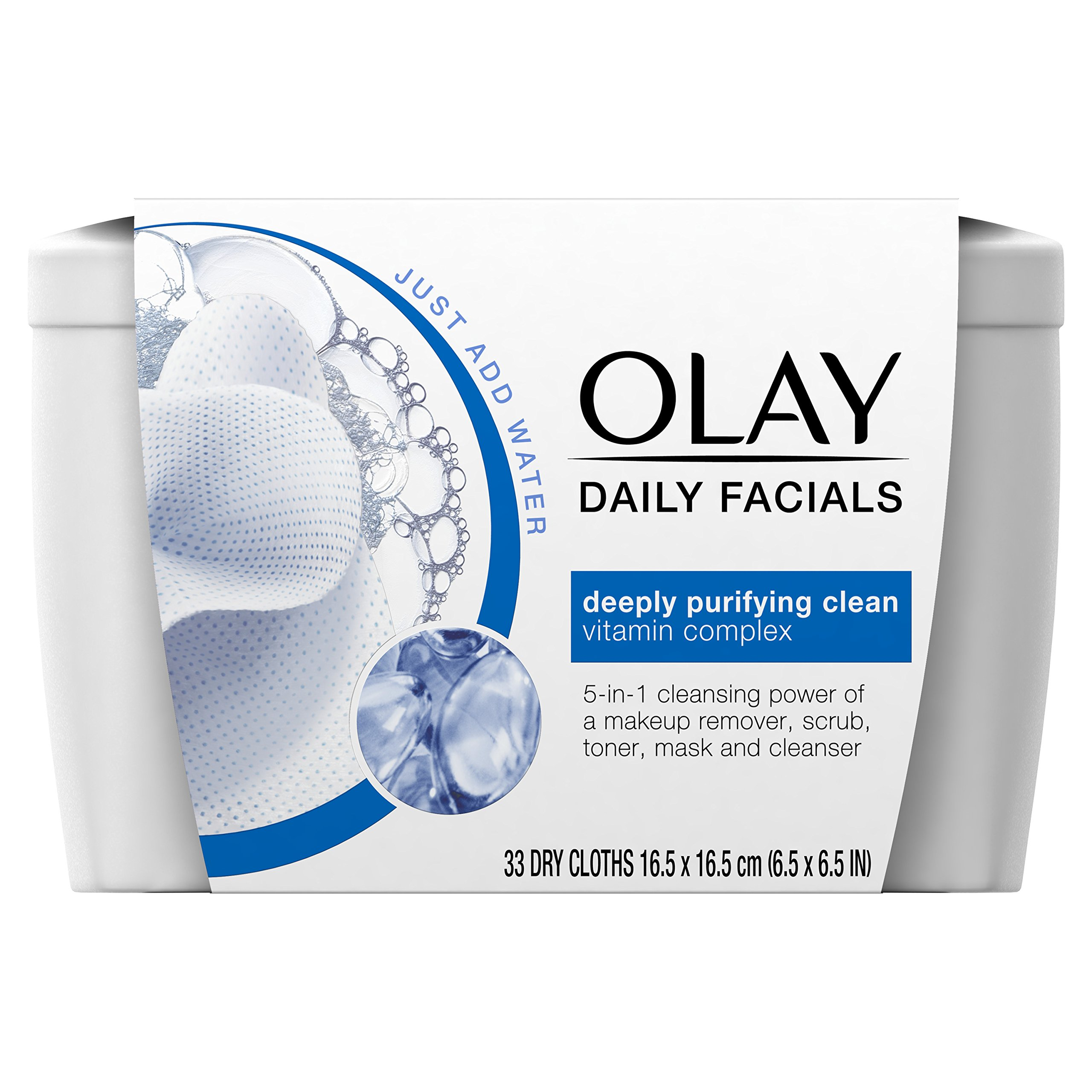 Makeup Remover by Olay Daily Facial Cleansing Cloths Tub for A Deeply Purifying Clean, Makeup Remover, 33 Count (Pack of 12)