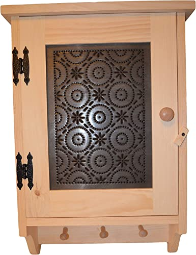 Amish Wares Bathroom, Hallway, Bedroom, or Kitchen Display Cupboard with 3 Peg Hooks to Hang Towels, or Country Decor Solid Wood Construction with Old Mill Punched Tin