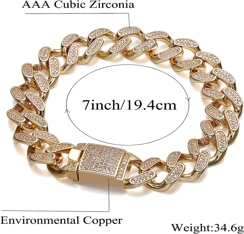 Curb Chain Bracelet Black Cubic Zirconia Gemstone 925 Silver 14K Gold Plated
