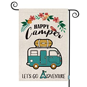 AVOIN Happy Camper Garden Flag Vertical Double Sided, Let's Go Adventure Rustic Camping Trailer Burlap Flag Yard Outdoor Decoration 12.5 x 18 Inch
