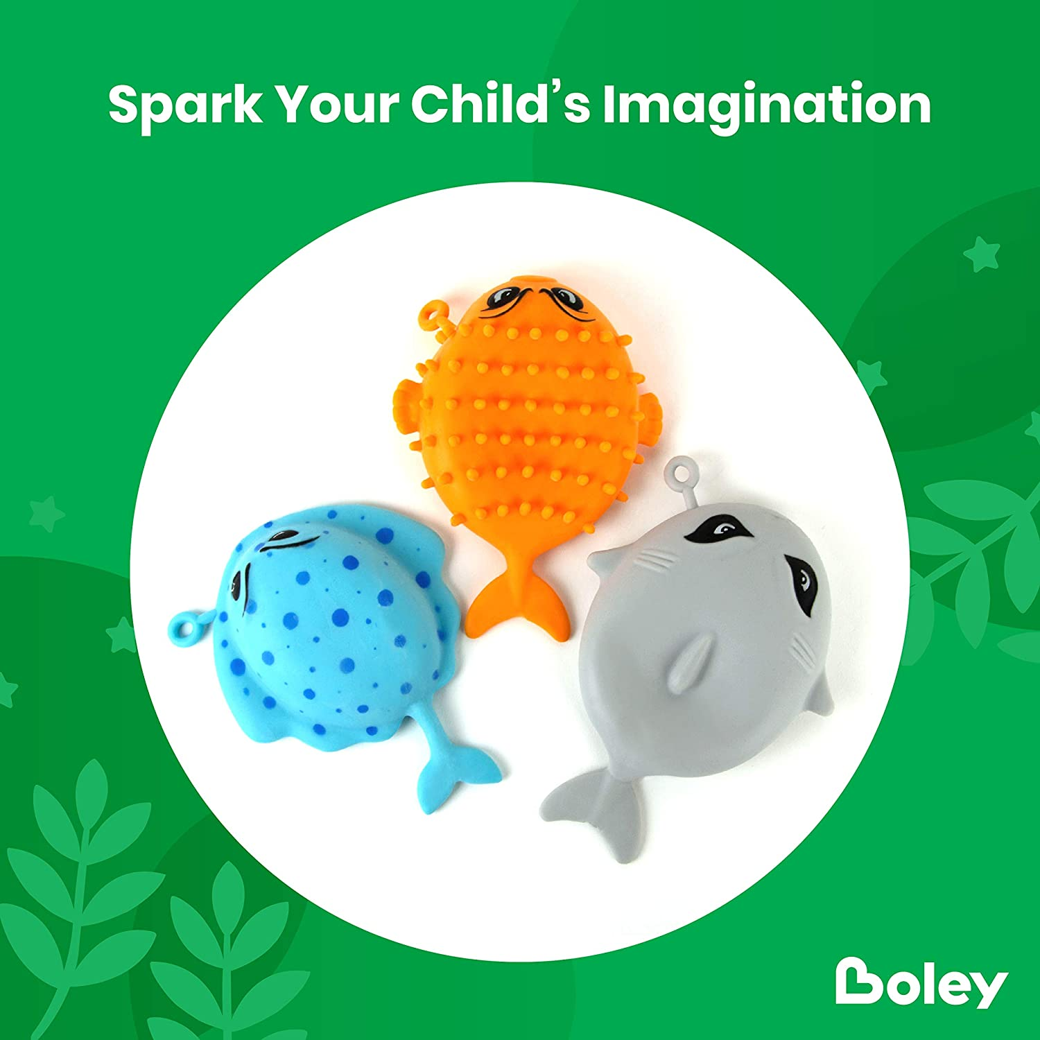 Puffer Fish 3 Pack Bath Toys for Toddlers and Kids and Shark Toys for Boys and Girls Inflatable Sea Animal Pool Stingray Shower and Bathtub Toys Boley Sea Squishies