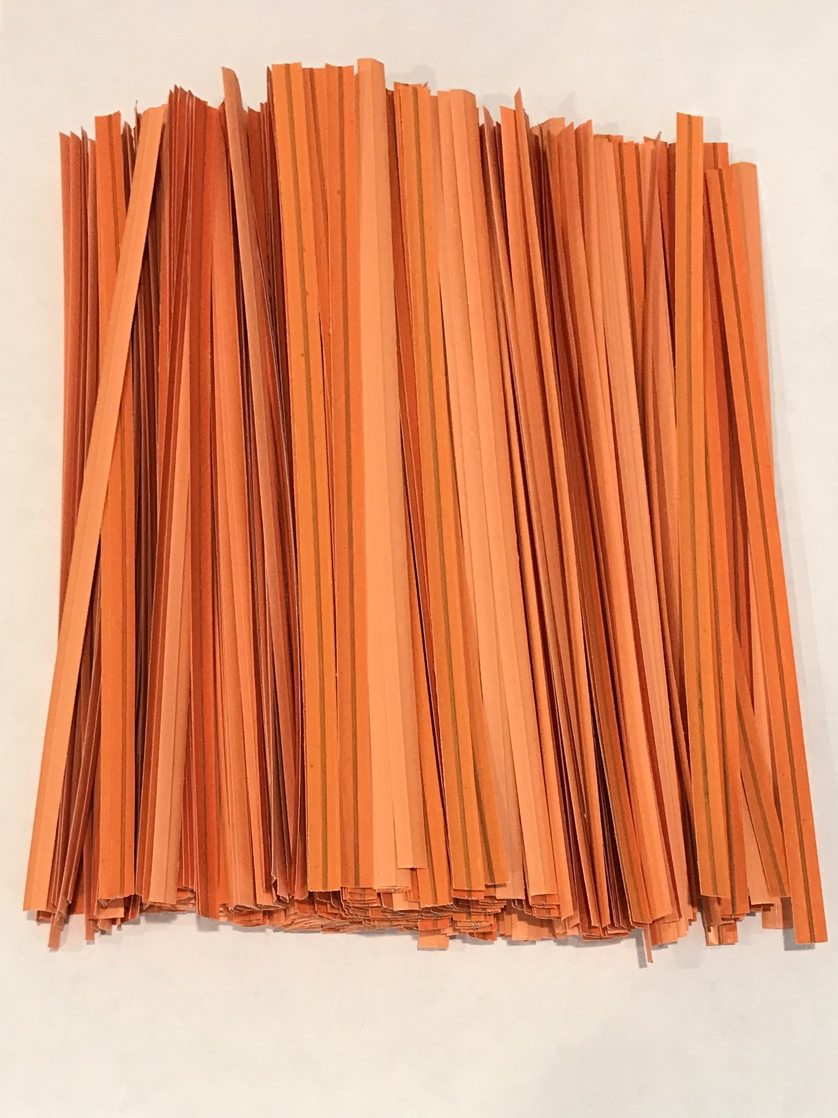 2000 Twist Ties 7'' Length Plastic Coated Pater No Rip Cellophane Assorted Colors (Orange)