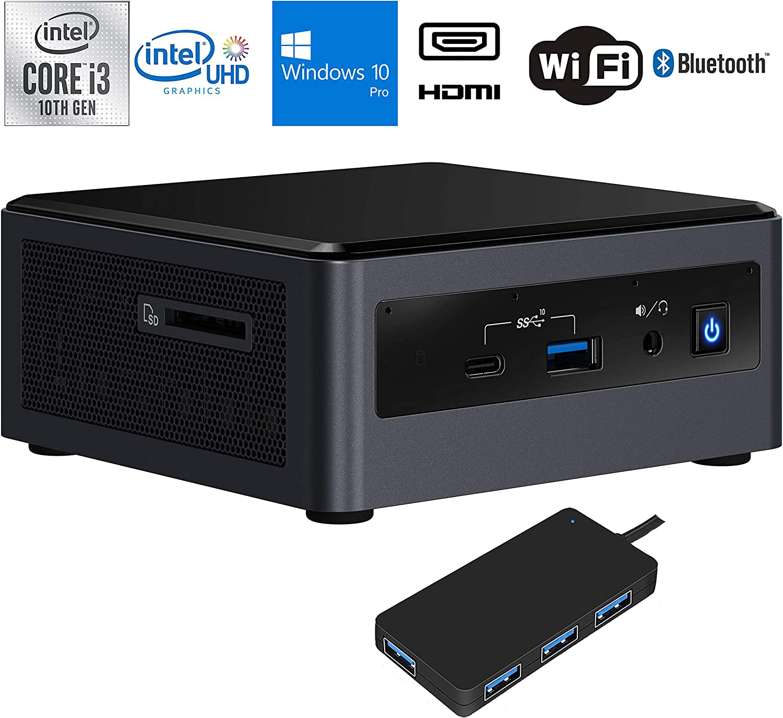 Intel NUC10i3FNH Home and Business Desktop Black (Intel i3-10110U 2-Core, 16GB RAM, 512GB PCIe SSD, Intel UHD Graphics, WiFi, Bluetooth, 3xUSB 3.1, 1xHDMI, SD Card, Win 10 Pro) with USB Hub
