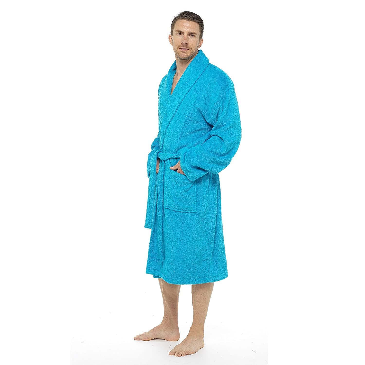 Men Towelling Robe 100% Cotton Terry Towel Hooded Shawl Collar ...