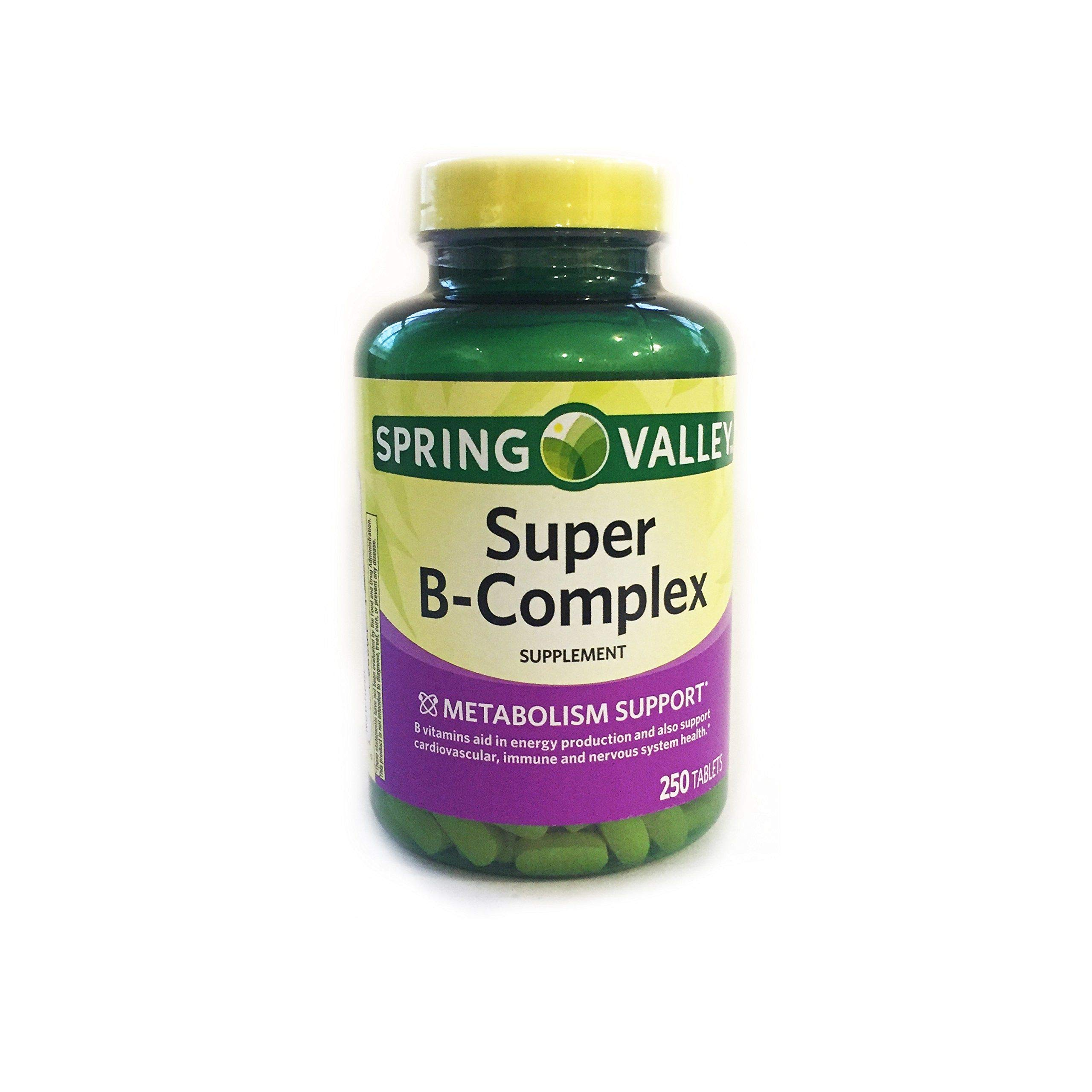 Spring Valley Super B-Complex, Metabolism Support, 250 Tablets